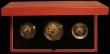 London Coins : A166 : Lot 802 : The 1989 Gold Proof Sovereign 3-coin set 500th Anniversary of the First Gold Sovereign comprising Tw...