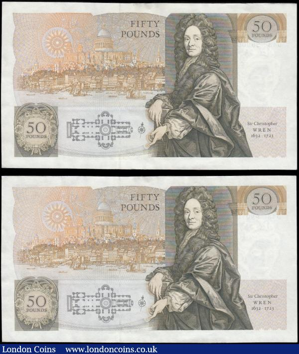 Fifty Pounds Gill QE2 Pictorial and Sir Christopher Wren B356 Windowed Security Thread (Stardust thread) issues 1988 (2) a consecutively numbered pair including a rather unique RADAR BINARY REPEATER serial number D43 990099 & D43 990100. Both GEF - about UNC : English Banknotes : Auction 166 : Lot 81