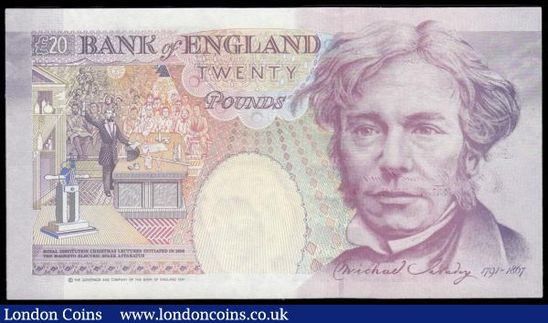 Twenty Pounds Gill QE2 pictorial & Michael Faraday B358 issue 1991 and a much scarcer prefix serial number L01 185946 about UNC - UNC : English Banknotes : Auction 166 : Lot 83