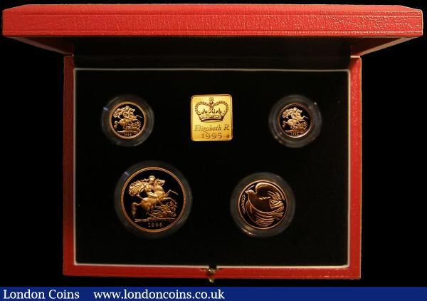 United Kingdom 1995 Gold Proof Four Coin Sovereign Collection, Gold Five Pounds, Two Pounds Peace Dove, Sovereign and Half Sovereign, S.PGS22 FDC in the Royal Mint box of issue with certificate : English Cased : Auction 166 : Lot 875