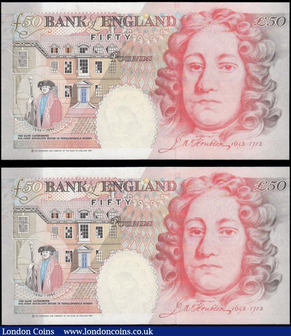 Fifty Pounds Lowther QE2 and Sir John Houblon B385 Silver Foil Tudor Rose issues 1999 (2) a consecutively numbered pair serial numbers M01 641586 & M01 641587. Both about UNC - UNC : English Banknotes : Auction 166 : Lot 89