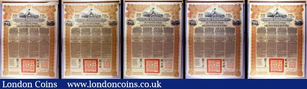China, Chinese Government 1913 Reorganisation Gold Loan, 5 x bonds for £20, Hong Kong & Shanghai Bank issues, vignettes of Mercury and Chinese scenes, black & brown with coupons Fine to NVF some with pencil annotations : Bonds and Shares : Auction 166 : Lot 9