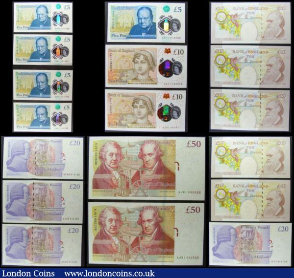 Bank of England Cleland includes Polymer issues (18) in mostly very high grades comprising 5 Pounds Polymer QE2 & Sir Winston Churchill B414 issues 2016 FIRST RUN notes (5) including a consecutively numbered set of 4 serial numbers AA01 151285 - AA01 151288 along with an earlier number AA01 013400. 10 Pounds (7) including the new QE2 & Jane Austen Polymer issue 2017 Duggleby unlisted (2) a presumably FIRST RUN consecutive pair AA01 050971 & 050972 along with QE2 & Charles Dickens B411 issues B411 (5) including a consecutive trio MA13 540848 - MA13 540850 along with LJ04 370035 and LH30 363407. 20 Pounds QE2 & Adam Smith B412 issues 2015 (4) including a consecutive trio KC05 316182 - KC05 316184 along with JK70 948736. 50 Pounds QE2 & Matthew Boulton and James Watt B413 issues 2015 (2) a consecutively numbered pair FIRST series AJ61 080535 & AJ61 080536 : English Banknotes : Auction 166 : Lot 95