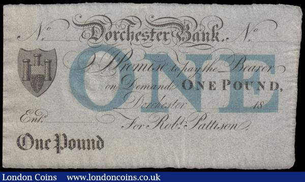 "Dorchester Bank 1 Pound Unissued Remainder For Robt. Pattison circa 1820's and the note in black featuring Coat of Arms at left and blue wording ""ONE"" in the underprint with Crowned embossed stamp at centre left for Five Pence, GEF - About UNC and Scarce : English Banknotes : Auction 166 : Lot 96"