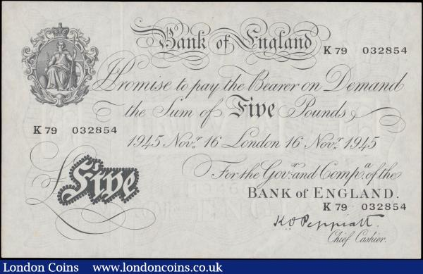 Five Pounds Peppiatt White note B255 Thick paper Metal thread issue dated 16th November 1945 serial number K79 032854 about UNC or near so and pleasing : English Banknotes : Auction 167 : Lot 1336