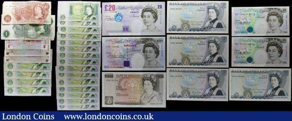Bank of England modern Hollom, Page, Somerset, Gill, Kentfield & Lowther issues also some B.A.F Military special vouchers (33) mostly in about UNC to UNC includes a few lower grade examples comprising Hollom 10 Shillings QE2 portrait B295 prefix 54L. Page 1 Pound QE2 portrait B322 last series HZ36. Somerset 1 Pounds Sir Isaac Newton B341 W (Web-press) Reverse issues 1981 (19) includes some consecutively numbered pairs in the prefixes AR50, AS05, BT30, BU07, DX52, DT47, DW09, DX25, DX46, DX68, DX83, DN74, DW08, CY65, CZ75 and CN47. Gill (7) including 5 Pounds (6) consisting of The Duke of Wellington B353 issues (4) prefxies RE61 and LAST series SE35, SE79 and SE85 along with George Stephenson B357 (2) prefixes D31 and E61. 10 Pounds Florence Nightingale B354 L (Lithography) issue prefix DZ80. Kentfield 20 Pounds Michael Faraday B375 prefix AD68. And Lowther 20 Pounds Sir Edward Elgar B386 prefix CC31. Also some British Armed Forces 6th Series Special vouchers 5 New Pence and 10 new Pence (2) prefixes A/5 and DD/10. : English Banknotes : Auction 167 : Lot 1385