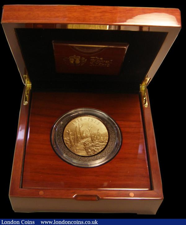 Ten Pounds 2015 100th Anniversary of the First World War - Reality 5 oz. Gold Proof, the reverse with a matt finish FDC in the impressive box of issue with certificate, number 13 of just 50 minted, only the second example we have offered  : English Cased : Auction 167 : Lot 157