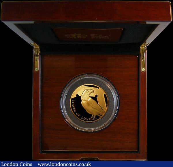 Ten Pounds 2019 The Tower of London - The Legend of the Ravens 5oz. Gold Proof FDC in Royal Mint box of issue with certificate number 21 of just 45 issued, only 35 have been issued in this format, all four of the 2019 5oz. Tower of London issues are offered here in this sale, and given the tiny mintages for these pieces, collectors for these impressive modern pieces will be able to purchase the entire set together : English Cased : Auction 167 : Lot 168