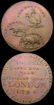 London Coins : A167 : Lot 1722 : Halfpennies 18th Century Middlesex (2) 1795 T.Hall - Citty Road 'Kanguroo', 'Armadill...
