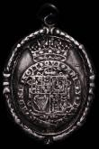 London Coins : A167 : Lot 1783 : Royalist Badge Charles I undated oval with suspension loop on edge 37mm x 51mm, cast, with wreath bo...