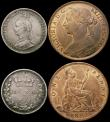 London Coins : A167 : Lot 2103 : Halfcrowns (3) 1892 EF, 1898 NEF, 1907 VF/GVF, Threepence 1893 Jubilee Head VF, Penny 1892 EF with s...