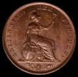 London Coins : A167 : Lot 2421 : Farthing 1828 Peck 1443 UNC with a pleasing chocolate tone, the obverse with a trace of lustre, in a...