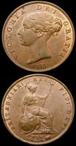 London Coins : A167 : Lot 2461 : Halfpennies (2) 1858 8 over 6 Peck 1547 GEF with traces of lustre, some edge knocks and small spots,...