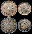 London Coins : A167 : Lot 2486 : Maundy Set 1904 ESC 2520, Bull 3610 UNC with a colourful and attractive matching tone, a most attrac...