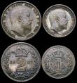 London Coins : A167 : Lot 2487 : Maundy Set 1907 ESC 2523, Bull 3613 EF once cleaned, now retoned, nevertheless a well matched set, t...