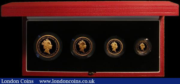 Britannia Gold Proof Set 1997 the 4-coin set comprising £100 One Ounce, £50 Half Ounce, £25 Quarter Ounce and £10 One Tenth Ounce S.PBG14 FDC retaining full mint brilliance, in the Royal Mint box of issue with certificate, only 892 sets issued : English Cased : Auction 167 : Lot 4