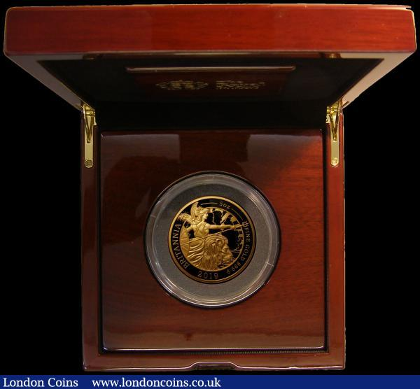 Five Hundred Pounds 2019  Britannia - The Spirit of a Nation 5oz. .999 Gold Proof FDC , comes in the Royal Mint box of issue with certificate number 10 of just 70 minted with just 57 in this presentation format : English Cased : Auction 167 : Lot 44