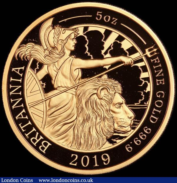 Five Hundred Pounds 2019 Britannia Five Ounce (.999 Fine) Gold Proof, in an oversized PCGS holder, choice and graded PR69 Deep Cameo  : English Cased : Auction 167 : Lot 45