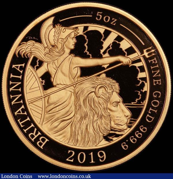 Five Hundred Pounds 2019 Britannia Five Ounce (.999 Fine) Gold Proof, in an oversized PCGS holder, choice and graded PR69 Deep Cameo  : English Cased : Auction 167 : Lot 46