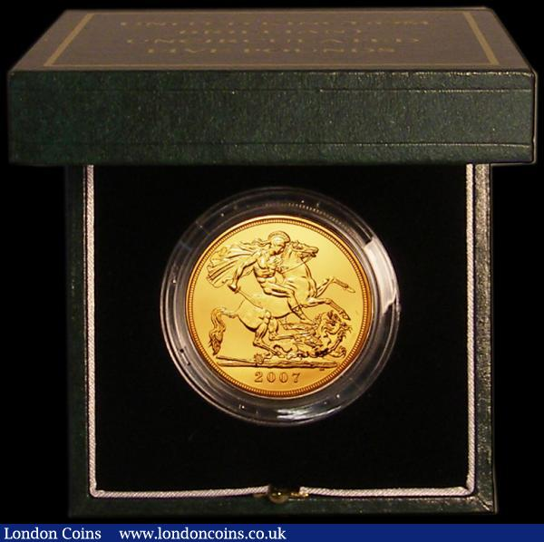 Five Pounds Gold 2007 S.SE7 BU and fully lustrous in the Royal Mint green box of issue with certificate. Only 768 issued : English Cased : Auction 167 : Lot 64