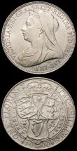 London Coins : A167 : Lot 808 : Halfcrown 1900 ESC 734, Bull 2786 GEF with some small edge nicks, Florin 1900 ESC 884, Bull 2971 GEF...