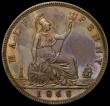London Coins : A167 : Lot 829 : Halfpenny 1868 Bronze Proof Freeman 305 dies 7+G nFDC with a colourful underlying tone, in an LCGS h...