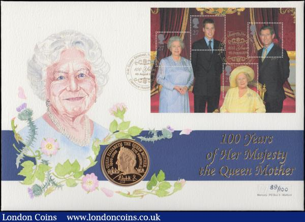Numismatic First Day Cover Queen Mother 100th Birthday comprising Five Pound Crown 2000 Gold Proof FDC and 4x 27 pence stamps UNC on the envelope of issue, in the large Westminster wallet with certificate, issue limited to 100 sets : English Cased : Auction 167 : Lot 87