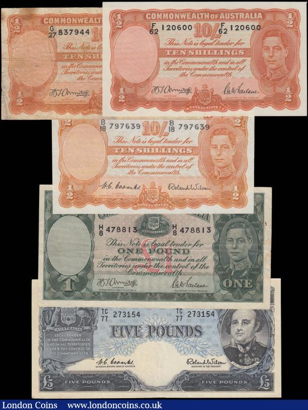 "Australia (5) in various grades aVF/VF to EF comprising Commonwealth Bank ND (1938-1952) ""George VI"" Issues including 10 Shillings (3) including Pick 25b (2) serial numbers G/27 837944 & F/62 120600 signatures H. T. Armitage and S. G. McFarlane along with Pick 25d serial number B/18 797639 signatures H. C. Coombs and R. Wilson, both in orange on multicolour underprint featuring King George VI at right on obverse and Allegorical Manufacturers figures at centre on reverse. 1 Pound Pick 26b serial number H/8 478813 signatures H. T. Armitage and S. G. McFarlane and the note in dark green on multicolour underprint featuring portrait of King George VI at right on obverse and Allegorical Pastoral figures shepherds with sheep on reverse. Along with a Reserve Bank of Australia ND (1961-1965) Pound Issue 5 Pounds Pick 35 serial number TC/77 273154 signatures H. C. Coombs and R. Wilson and the note in black on blue underprint featuring Arms at upper left and portrait of Sir John Franklin on obverse and reverse in blue featuring Cattle, sheep and agricultural products across centre reverse. Sir John Franklin was a British Royal Navy officer and explorer of the Arctic. Franklin also served as Lieutenant-Governor of Van Diemen's Land from 1837 to 1843. He disappeared while on his last expedition, attempting to chart and navigate the Northwest Passage in the North American Arctic : World Banknotes : Auction 168 : Lot 105"