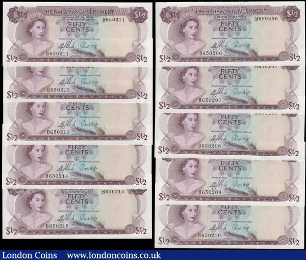 Bahamas Government 50 Cents (Half Dollar) Pick 17a Law of 1965 signatures Sands & Higgs (10) all very eye-pleasing examples of the first Dollar system issues, all fresh and crisp UNC and in a consecutively numbered set serial numbers B 650206 - B 650215. Printed by Thomas De La Rue each of these pleasing notes in purple on multicoloured underprint featuring a young portrait of H.M. Queen Elizabeth II on obverse. And a Straw Market scene with Bahama's Coat of Arms at left and Flowers at right on reverse. Watermarked with a shellfish. Always collectible examples and very sought after : World Banknotes : Auction 168 : Lot 115