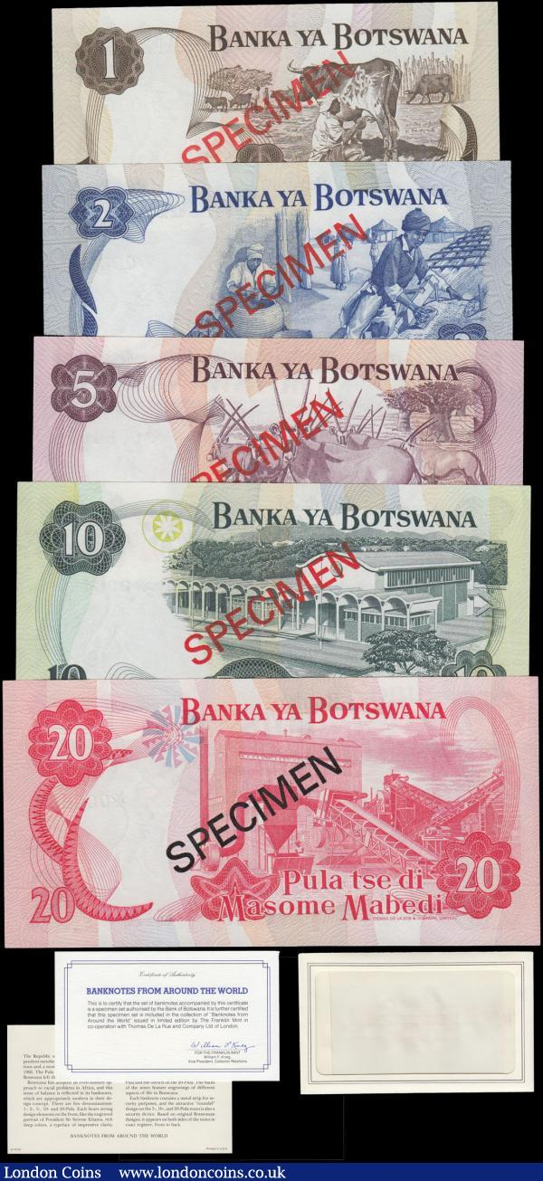 Botswana SPECIMEN Franklin Mint Collectors set Pick CS1 of 5 notes - 1, 2, 5, 10 and 20 Pula. All with Maltese Cross prefix, serial numbers 006469, overprinted SPECIMEN in red and come with the original envelope, informative card and Certificates of Authenticity signed William F. Krieg. All notes UNC and a very collectable set : World Banknotes : Auction 168 : Lot 118