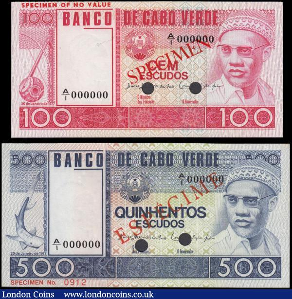 "Cape Verde Banco de Cabo Verde SPECIMEN notes of the 20th January 1977 ""Cabral"" issues punch-hole cancelled and serial numbers A/1 000000 (2) both in crisp about UNC - UNC and very Scarce comprising 100 Escudos SPECIMEN number 083 Pick 54s3 SPECIMEN in red diagonally on obverse and reverse and ""SPECIMEN OF NO VALUE"" imprinted in upper left margin on obverse and reverse. Together with the 500 Escudos SPECIMEN number 0912 Pick 55s1 ESPECIMEN in red diagonally on obverse and reverse. A fascinating pair of these not often seen Specimen notes. The 100 Escudos in red displaying ""Cimboa"" (one-stringed fiddle) & Amilcar Cabral on obverse and an illustration of Mount Cano (Fogo Island) on reverse. The 500 Escudos in blue featuring Shark & Amilcar Cabral on obverse and the reverse illustrating a view of Port of Mindelo (São Vicente). : World Banknotes : Auction 168 : Lot 122"