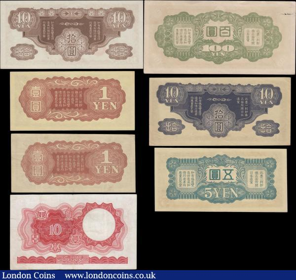 China, Japanese WW2 Occupation and Malaya & British Borneo (7) in various grades good Fine-VF to EF-GEF including a very rare 1 Yen issued 1939 without block number or serial number Pick M16. Also 1, 5, 10 & 100 Yen issued 1940 & 1945. French Indochina 10 Yen Pick M7 1942 Block number 4. Along with the Scarce and always sought after Malaya & British Borneo 10 Dollars Pick 9a dated 1st March 1961 serial number A/37 872393 featuring Farmer ploughing with Ox on obverse. A  very desirable group : World Banknotes : Auction 168 : Lot 128
