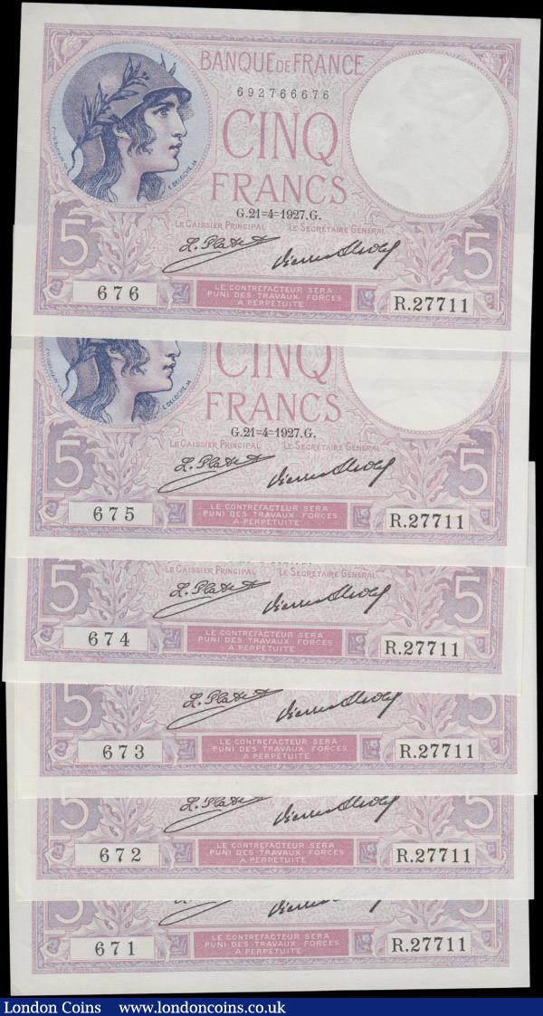 France Banque de France 5 Francs Pick 72d (Fayette F3.11) dated 21st April 1927 signatures Platte & Strohl (6) a consecutively numbered set serial numbers R27711 671 through R27711 676, all in very high grades GEF and very desirable, rarely seen as consecutive sets. Each note in lilac featuring a helmeted woman at upper left on obverse and the reverse illustrating a port scene with dock worker and ships. Watermarked woman's head. A very desirable group : World Banknotes : Auction 168 : Lot 165