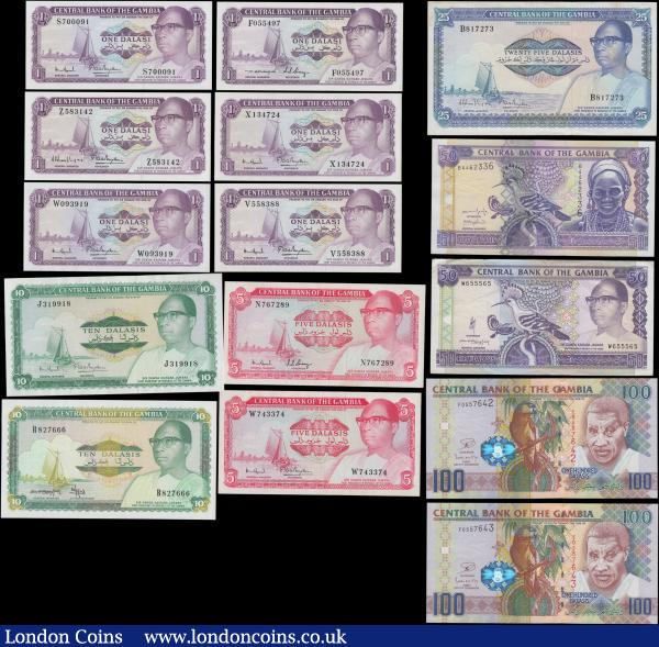 Gambia 1970's to modern (15) mostly in about UNC - UNC and including a few scarcer types. Comprising ND 1972-86 issues 1 Dalasis (6) in different varieties including Pick 4c, 4f (3) and 4g(2). 5 Dalasis (2) including Pick 5c and 5d. And 10 Dalasis Pick 6c. ND 1987-90 issues (2) 10 Dalasis Pick 10b and 25 Dalasis Pick 11a. 50 Dalsis Pick 15a ND 1989-95 with a collectible BINARY serial number W655565. 50 Dalsis Pick 23a ND 2001-05 ascending size serial number B4462336, white borders at left and right. And a consecutively numbered pair of the 100 Dalasis Pick 29c ND 2006-13 & 2018 issues full printing on both sides, silver foil hologram with mans face same as on obverse and signature SCWPM type 17 (2) serial numbers F0557642 & F0557643. Pleasing and collectible group, ideal for a beginer collection or filling the gaps in a more advanced one : World Banknotes : Auction 168 : Lot 172