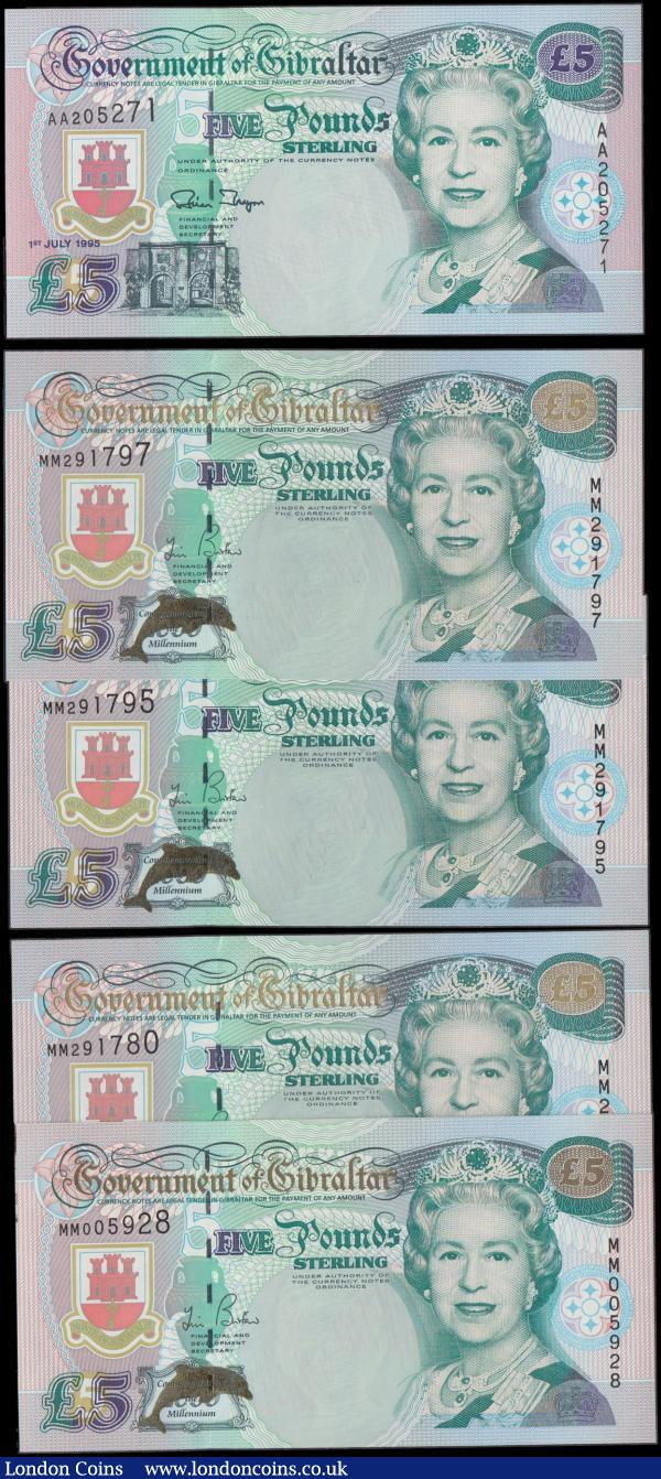 Gibraltar Government 5 Pounds H.M. Queen Elizabeth II 1995-2000 issues (5) all about UNC - UNC comprising Pick 25 dated 1st July 1995 series AA 205271. Along with the Commemorative 2000 Millennium commemorative issue special prefix issues Pick 29 with a Golden Foil dolphin at lower left and Commemorative text (4) including some close serial numbers  MM 291795, MM 291797, MM 291780 and the earlier MM 005928. A very eye appealing and desirable group : World Banknotes : Auction 168 : Lot 190