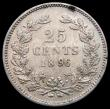 London Coins : A168 : Lot 2069 : Netherlands 25 Cents 1896 KM#115 NEF/GEF the reverse with a tone spot on the rim, one of the key dat...