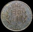 London Coins : A168 : Lot 2112 : Crown 1844 Star Stops on edge ESC 280, Bull 2561 Fine with blue toning