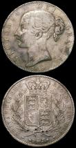 London Coins : A168 : Lot 2118 : Crowns (2) 1902 ESC 361, Bull 3560 Fine, the reverse slightly better, 1845 Cinquefoil stops of edge ...