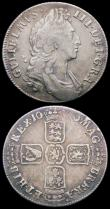London Coins : A168 : Lot 2163 : Halfcrown 1845 the 5 overstruck possibly over a blundered or italic 5 VG/Near Fine, Shilling 1696 Fi...