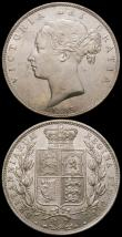 London Coins : A168 : Lot 2192 : Halfcrowns (3) 1885 ESC 713, Bull 2765 AU/UNC with a long thin scratch on the obverse, 1888 ESC 721,...
