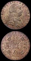 London Coins : A168 : Lot 2303 : Shilling 1787 Hearts ESC 1225, Bull 2129 NEF with mottled tone, once cleaned, now retoned, Sixpence ...