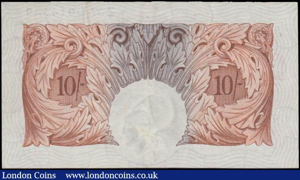 Ten Shillings Mahon B210 Red-Brown issue 1928 FIRST series number Z37 914 549, VF - GVF and Rare example of the first Britannia medallion Red-Brown design 10 Shillings notes : English Banknotes : Auction 168 : Lot 32