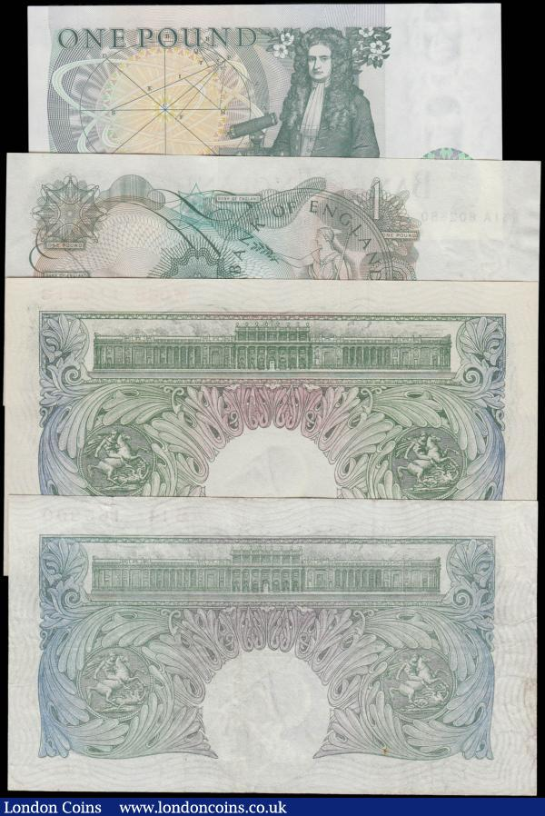Bank of England 1 Pounds different designs from various cashiers (4) in VF to UNC comprising a Scarce example of the first Britannia medallion Green design 1 Pound notes - Mahon B212 issue 1928 serial number B14 166800. Beale B268 Britannia medallion Green issue 1950 serial number W06B 110613. Page QE2 portrait & seated Britannia B305 serial number W51A 602680. And Somerset QE2 pictorial & Sir Isaac Newton B341 serial number CU81 951805. A desirable group : English Banknotes : Auction 168 : Lot 33
