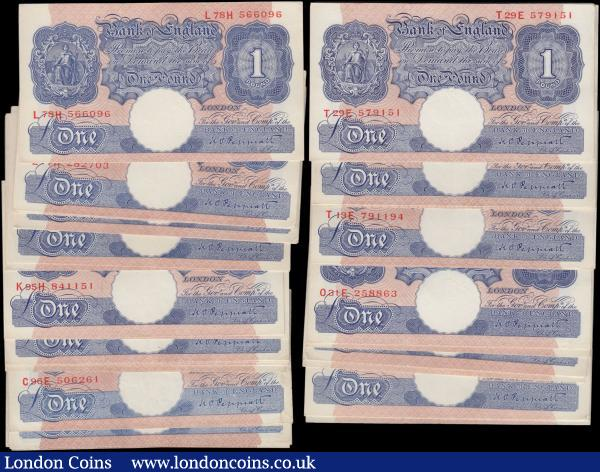 One Pounds Peppiatt Second Period WW2 Emergency issues B249 Blue/Pink Metal thread issued 1940 (70) an impressive amalgamation of these always desirable notes and all are in very high grades on average EF-GEF some better and most in consecutively numbered sets. Serial numbers include M23H 363671 - 74, M34H 894790,  N04H 127598-600, N04H 128910 - 12,  N84H 289873-4, O31E 258863, O32E 585321, O83E 990283, T13E 791194 - 96, T29E 576948 - 955, T28E 762722, T29E 579605, T59E 920985, T29E 579151 - 53, B28E 030772, C96E 506261, D08E 159933, D18E 637918, D33E 563261, D41E 370373, D72E 497904, E96D 362332, K29H 771931 - 933,  K73H 949302 - 04, K85H 705951 - 53, K95H 841151 - 53, L53H 772631 - 33,  L62H 880570, L62H 880855 - 56, L71H 327637 - 40, L77H 282703 - 06 and L78H 566096 - 98. An impressive and eye-catching lot, these notes always very keenly sought after in higher grades : English Banknotes : Auction 168 : Lot 43