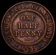London Coins : A168 : Lot 750 : Australia Halfpenny 1923 KM#22 Good Fine showing partial centre diamond, the surfaces with some dark...