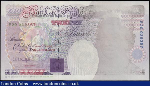 Twenty Pounds Kentfield QE2 and Michael Faraday ERROR B371 issue 1991 serial number E20 039367 Insufficient Inking Error along top to bottom at right on Queens picture causing area to be faded and not sharp. About EF - EF : English Banknotes : Auction 168 : Lot 80