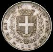 London Coins : A168 : Lot 811 : Italian States - Sardinia Lira 1860 F//M, Milan mint KM#142.3 VF/GVF toned with some scratches in th...