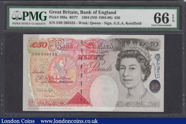 Fifty Pounds Kentfield QE2 & Sir John Houblon B377 Silver Foil Tudor Rose issue 1994 serial number E08 506433 in a PMG holder and assigned the outstandingly high grade of Gem UNC 66 EPQ. Printed at the Bank of England Works, Debden, Essex and designed by Roger Withington this high grade note holds much eye-appeal  : English Banknotes : Auction 168 : Lot 82