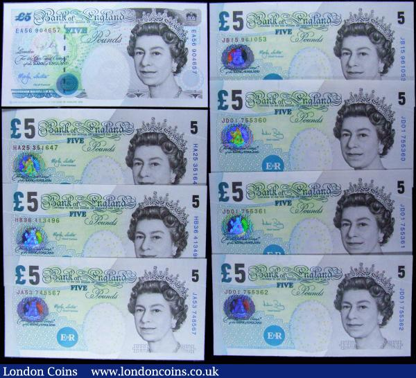 Five Pounds Lowther & Bailey (8) all in about UNC - UNC consisting of Lowther issues (5) including B380 Crown at upper right prefix EA56, B393 issues 2002 (3) prefixes HA25, HB36 & JA53 along with B395 prefix JB15. And Bailey 398 issues 2004 (3) a consecutively numbered trio JD01 755360 - JD01 755362. : English Banknotes : Auction 168 : Lot 83