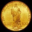 London Coins : A168 : Lot 894 : Vatican City 100 Lire Gold 1932 Pius XI KM#9 UNC and lustrous with some minor contact marks, with a ...